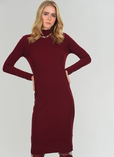 People By Fabrika Balıkçı Yaka Triko Elbise Bordo